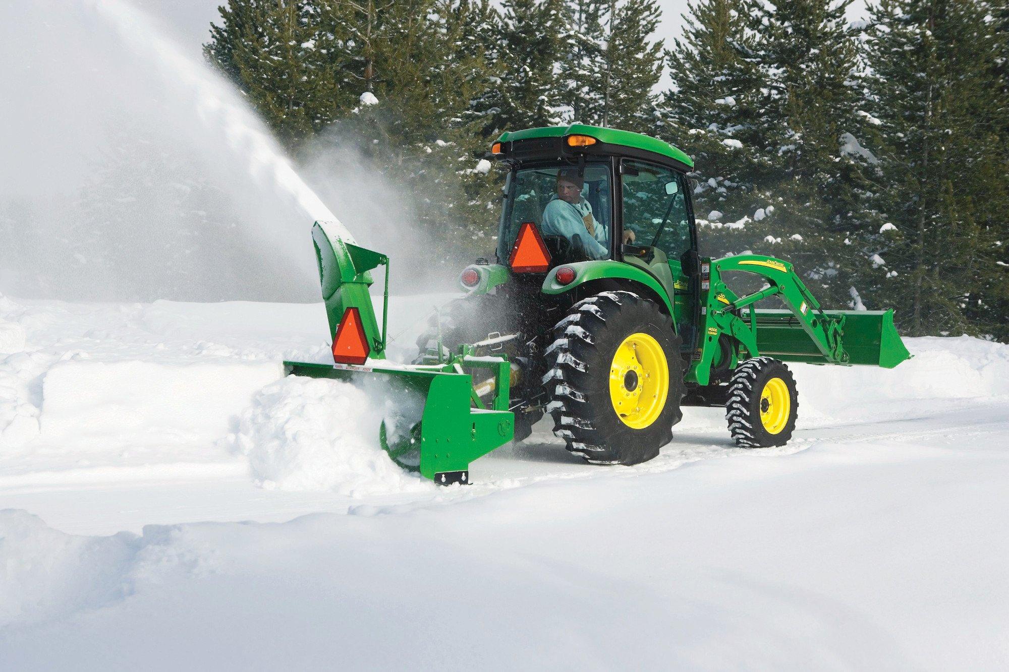 John Deere 3046R with Frontier Snow Blower